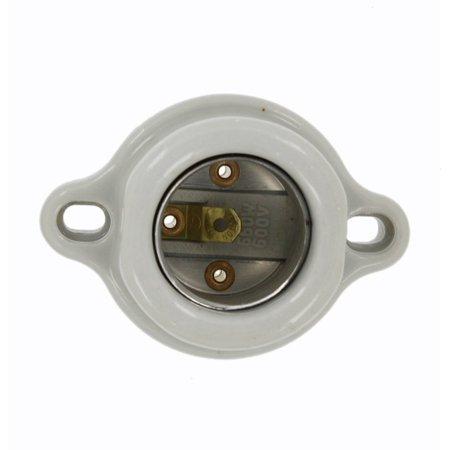 9878 Incandescent Lampholder, Keyless, Porcelain, Medium Base, 660W, 600V, White, Porcelain medium base incandescent lampholder By Leviton