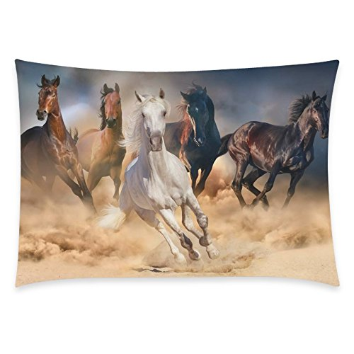 ZKGK Unique Running Horse Home Decor, Horse Herd Run in Desert Sand Storm Pillowcase 20 x... by ZKGK
