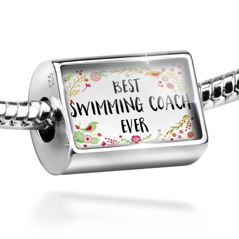Bead Happy Floral Border Swimming Coach Charm Fits All European Bracelets by NEONBLOND