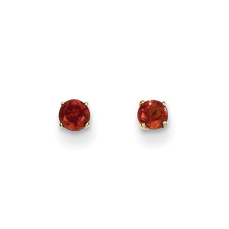 - 14k Yellow Gold Childs Round Garnet 3mm Post Earrings w/ Gift Box.