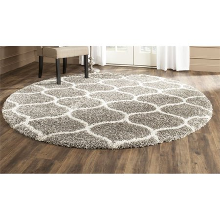 Safavieh Hudson Shag 5' Round Power Loomed Rug in Gray and Ivory - image 2 de 2