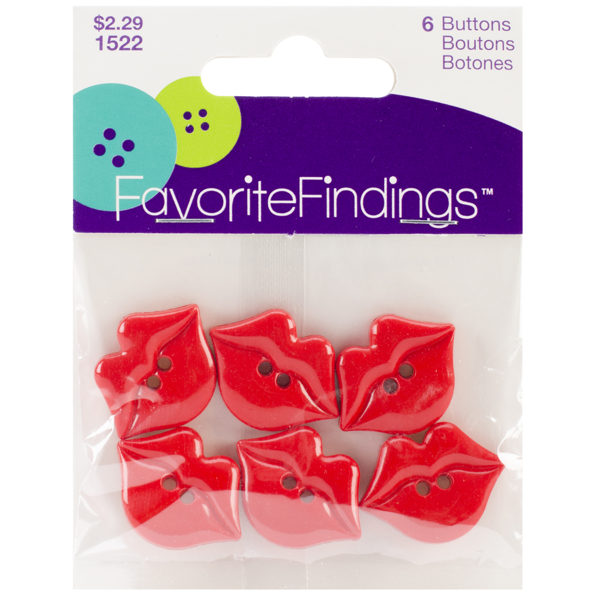 Blumenthal Lansing Favorite Findings Buttons, Kiss Me, Red, 6-Pack Multi-Colored