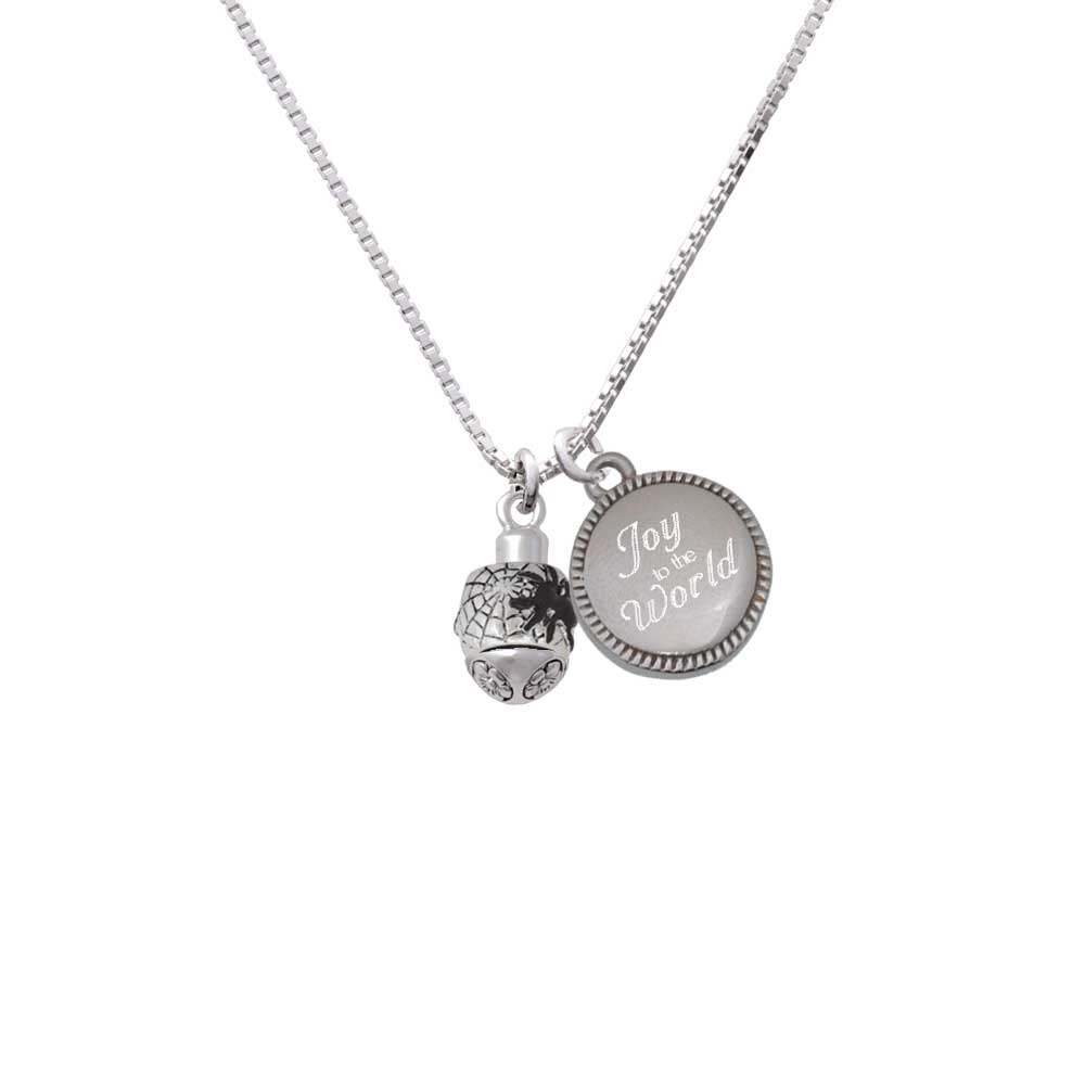 Delight Silvertone Black Spider on Web Spinner - Joy to the Word Necklace