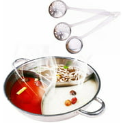 3 Comparts Hot Pot with Divider Stainless Steel Pot Yuanyang Pots for Electric Induction Cooktop Gas Stove (34 cm Include 3 Pot Spoons)
