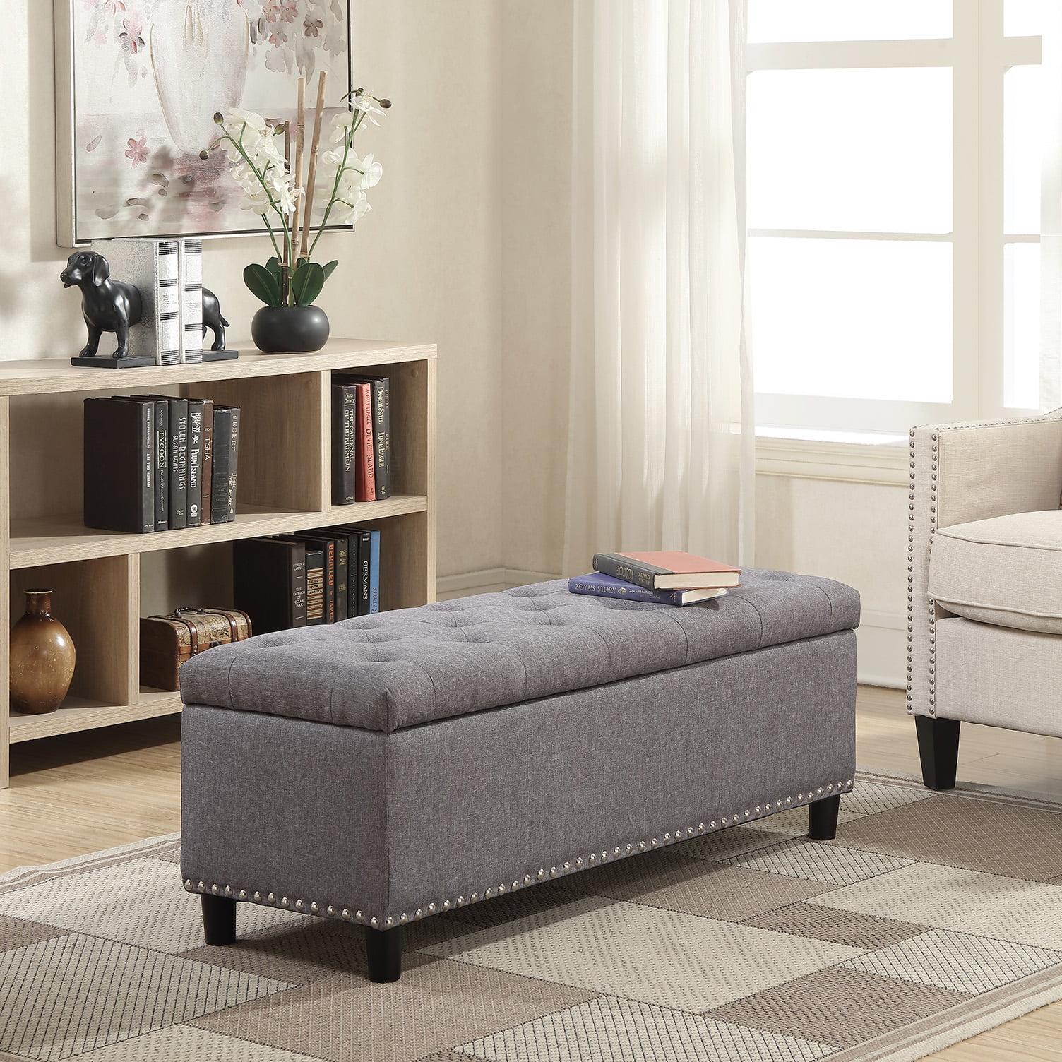 "Belleze 48"" Rectangular Gray Storage Fabric Ottoman Bench Tufted Footrest Lift Top by Belleze"