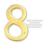 SalsburyIndustries 1230B-8 6 in. Solid Brass Number, Brass - 8