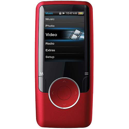 """Coby MP620-4GRED 4GB 1.8"""" MP3/MP4 Player with FM Radio, Red"""