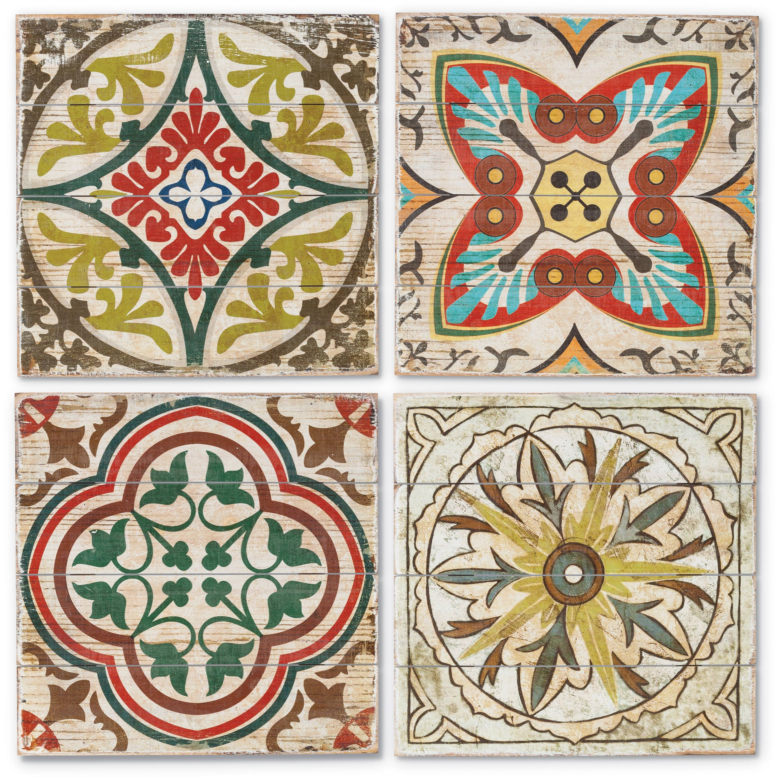 15.88-Inch Square Wall Art Tiles in Multi-Colored Bohemian Design on Fir Wood (Set of 4)