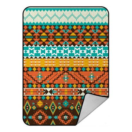 YKCG Colorful Aztec Bohemian Geometric Blanket Crystal Velvet Front and Lambswool Sherpa Fleece Back Throw Blanket 58x80inches