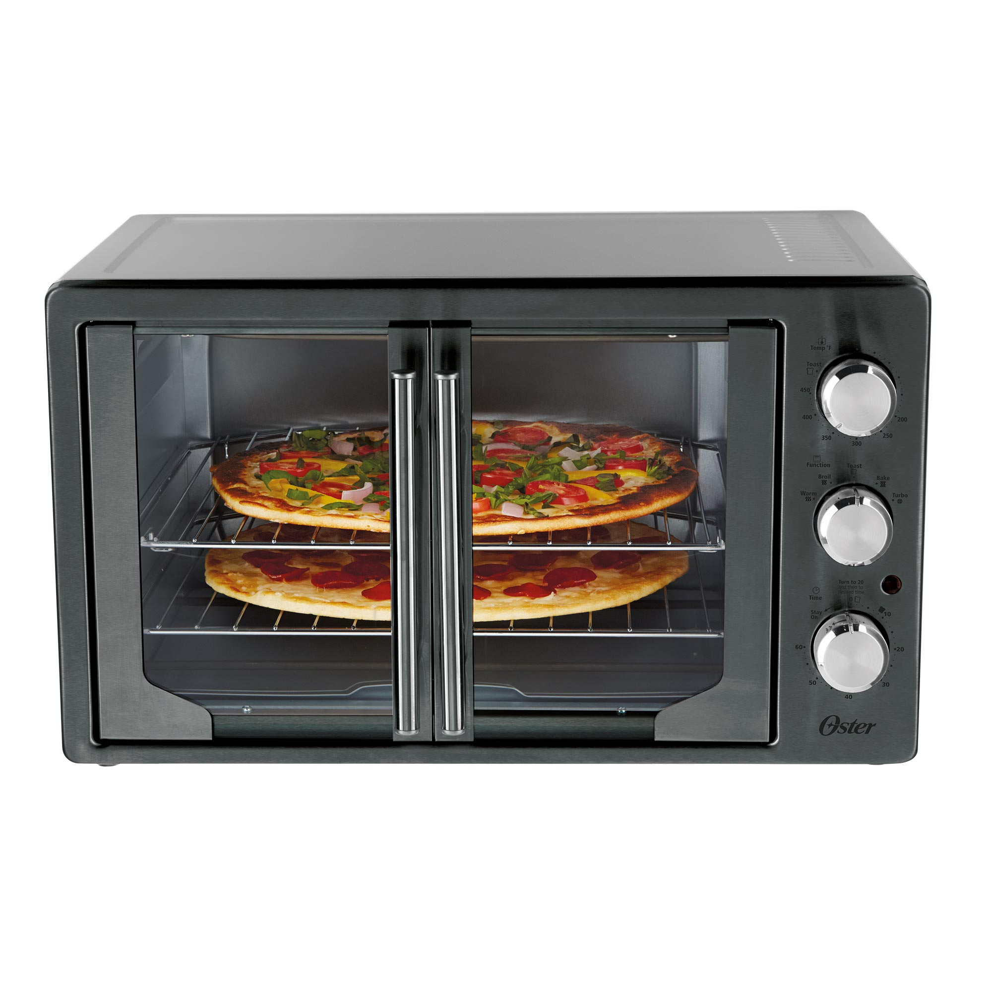 Oster French Door Oven with Convection, Metallic Charcoal