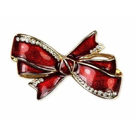 Jones New York Brooch, Gold-Tone Red Bow Crystal Pin Gift Box