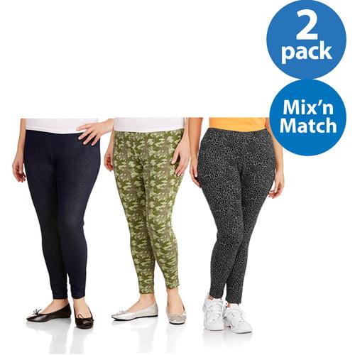 Faded Glory Women's Plus-Size Essential Knit Leggings 2pk Value Bundle
