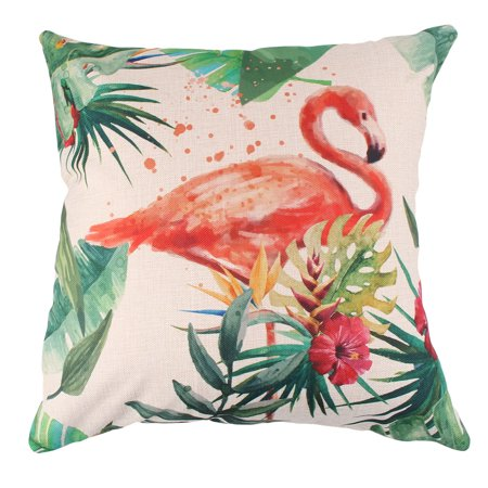 Bedroom Cotton Linen Flamingo Pattern Bed Back Cushion Cover Case 18 x 18