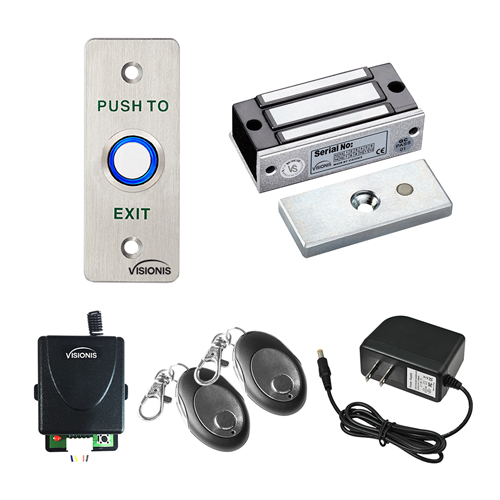 Visionis FPC-7460 One Door Access Control For Out Swinging Door 120lbs Electromagnetic Lock Kit With Wireless Receiver + Remote + VIS-7023 Exit Button Kit