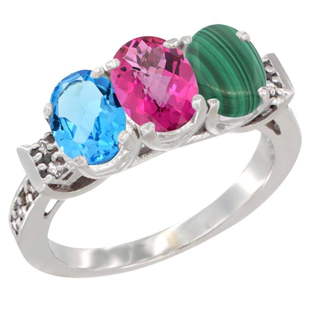 14K White Gold Natural Swiss Blue Topaz, Pink Topaz & Malachite Ring 3-Stone 7x5 mm Oval Diamond Accent, sizes 5 - 10