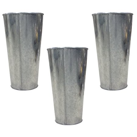 Hosley Set of 3 Galvanized Vases / French Buckets - 9