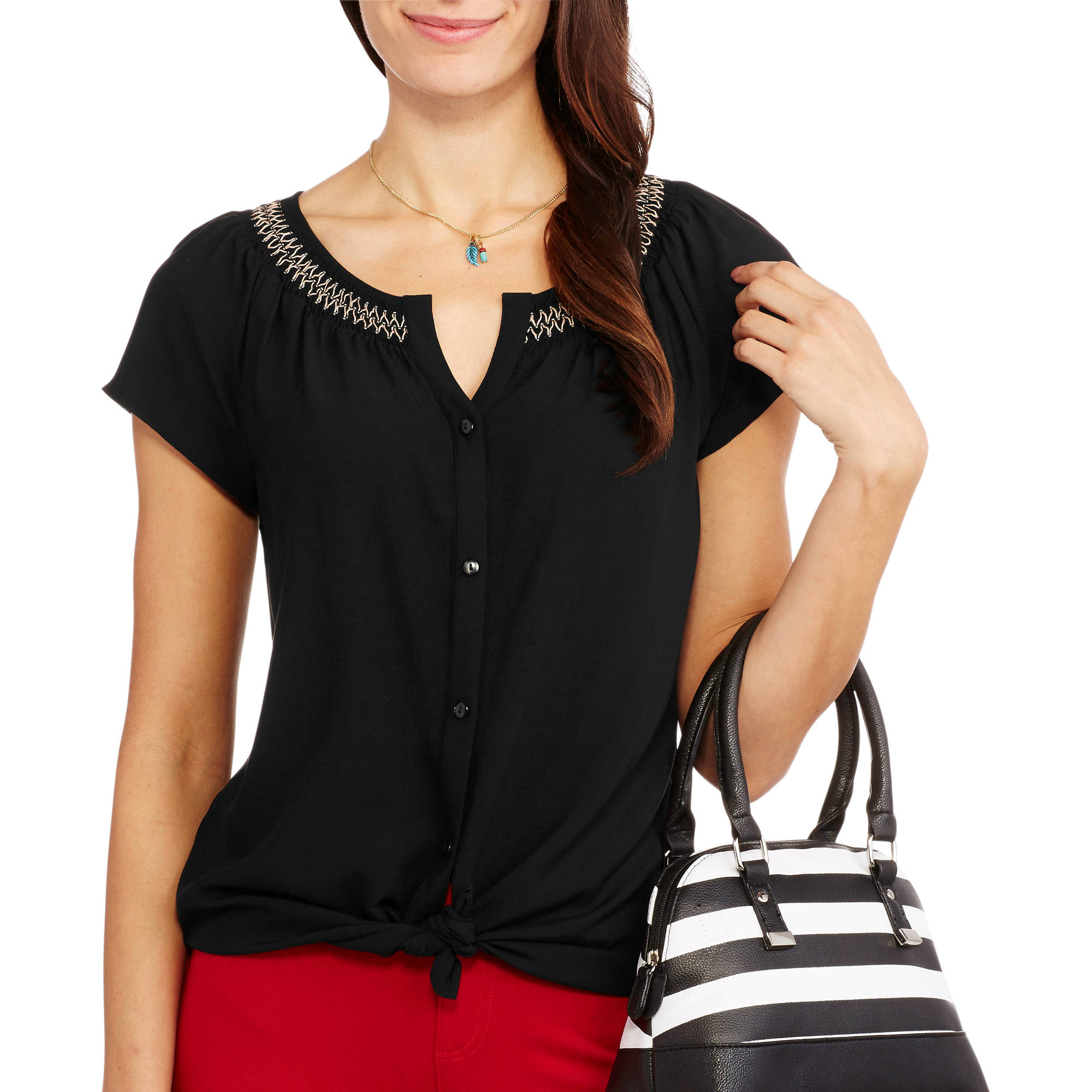 Faded Glory Women's Short Sleeve Button Front Peasant Top