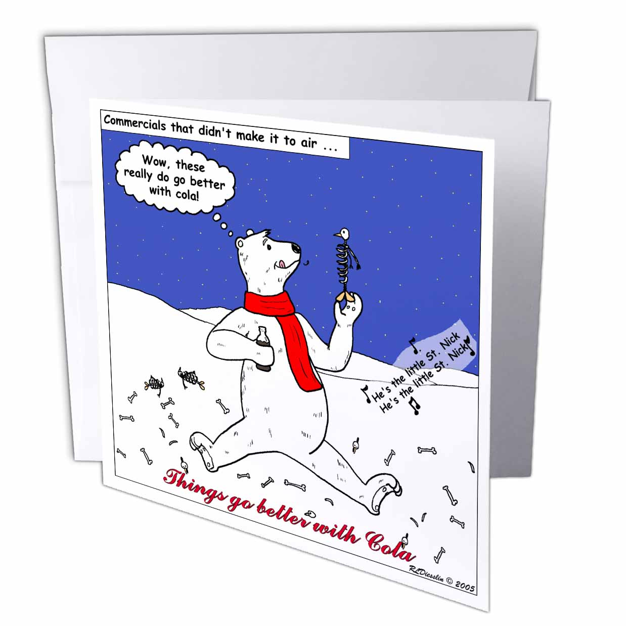 3dRose Holiday Commercials that Didnt Make It, Greeting Cards, 6 x 6 inches, set of 12