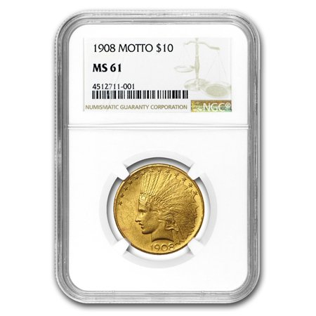 1908 $10 Indian Gold Eagle w/Motto MS-61 NGC (Indian Gold Coin)