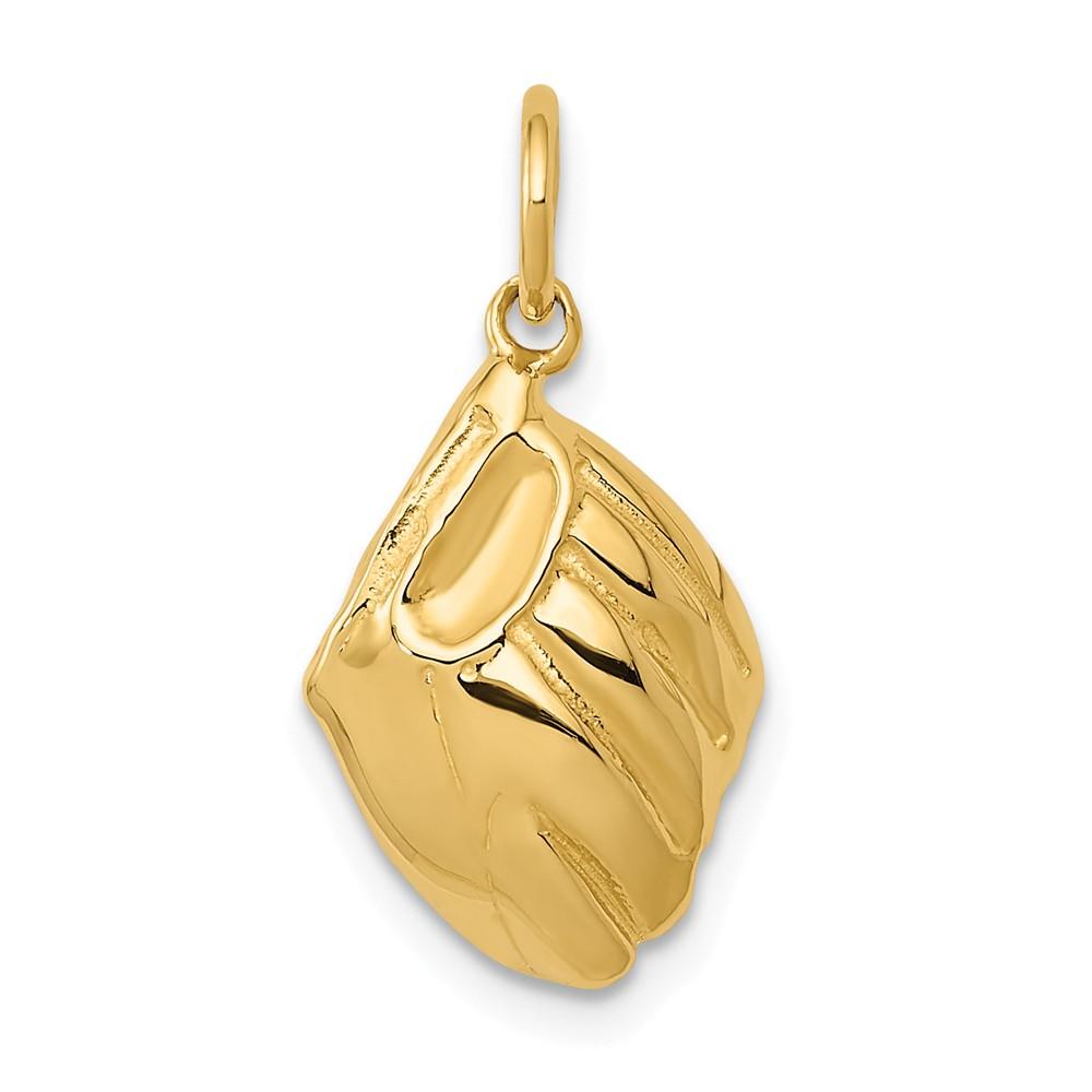 14k Yellow Gold Baseball Glove Charm Pendant