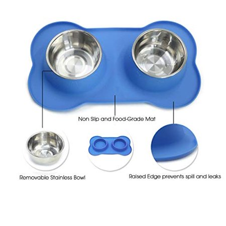 No-Spill Stainless Steel Pets Bowl Feeder for Dogs and Cats   Royal Blue