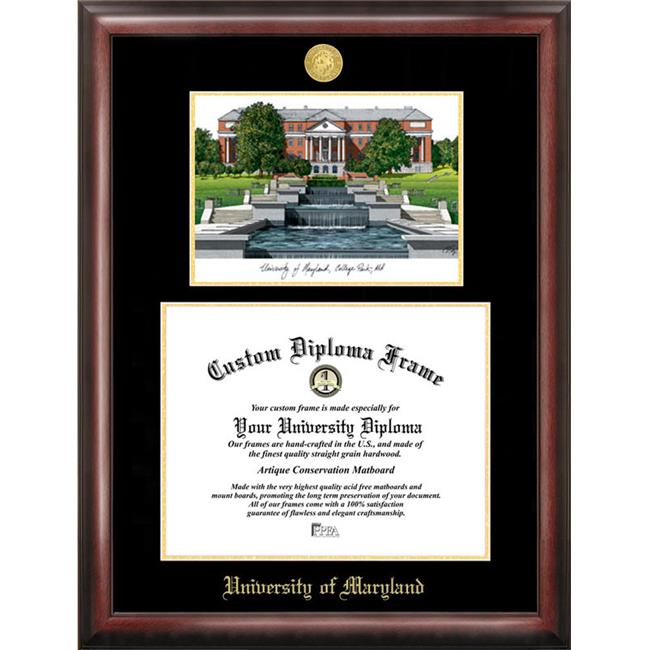 Campus Images MD998LGED University of Maryland Gold embossed diploma frame with Campus Images lithograph