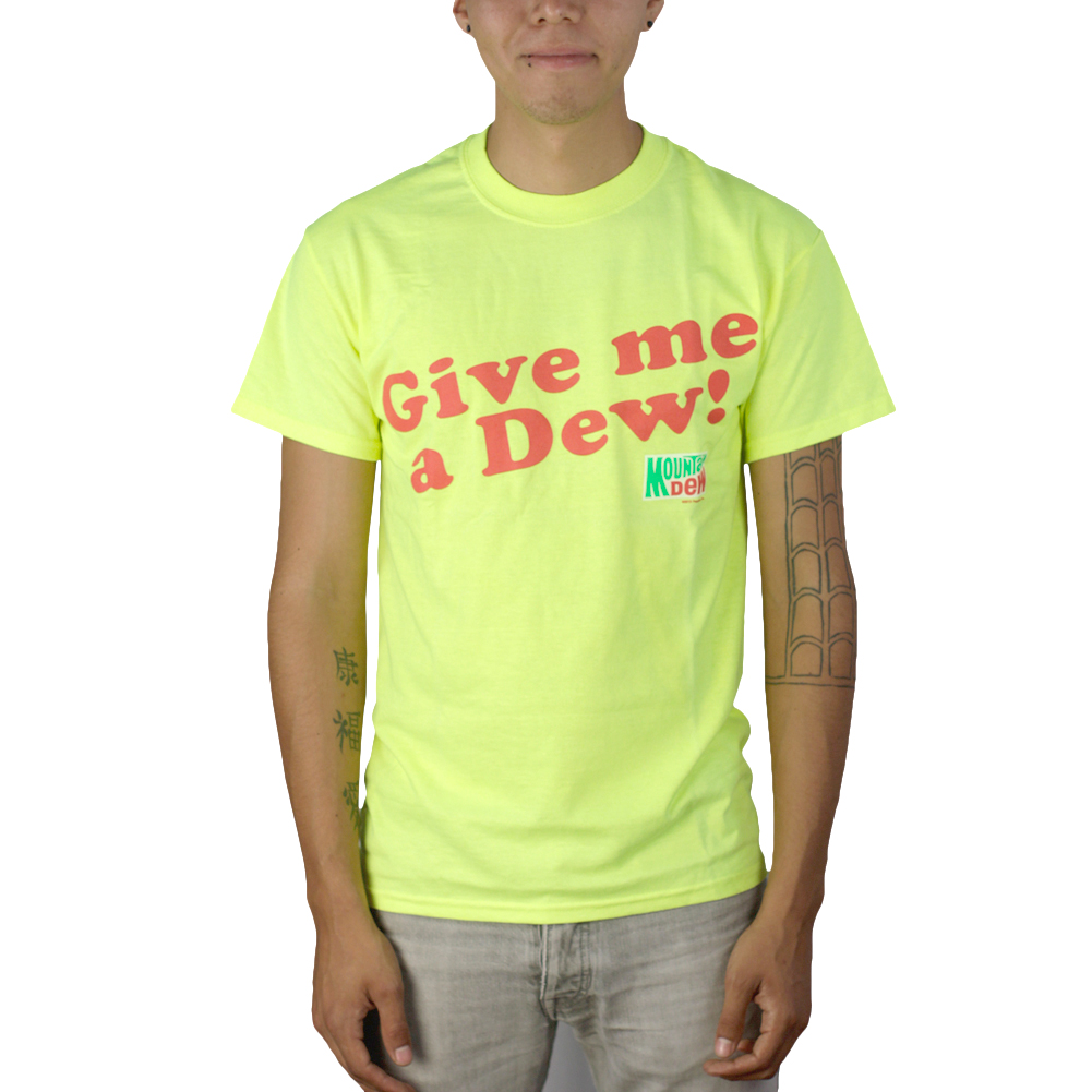 Give Me A Dew Neon Yellow Graphic T-shirt NWT Sizes S-2XL
