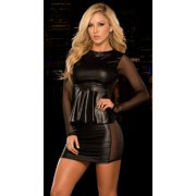 Mesh Inset Peplum Top and Skirt