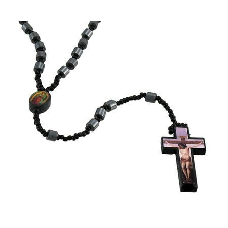 Hematite Barrel Beaded Rosary Printed Graphic Cross Lavender