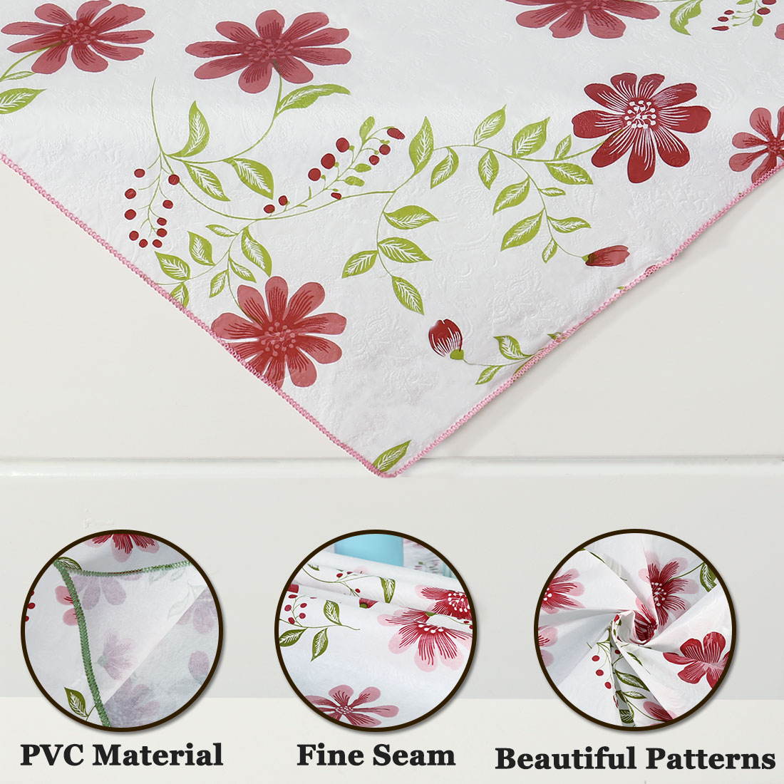 """Seamless Stain Water Resistant PVC Rectangular Tablecloth 24"""" x 24"""" Red Flower - image 3 of 8"""