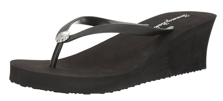 Tommy Bahama Women's WHYKIKI High-Wedge Flip Flop Sandals (Black, 7B) by
