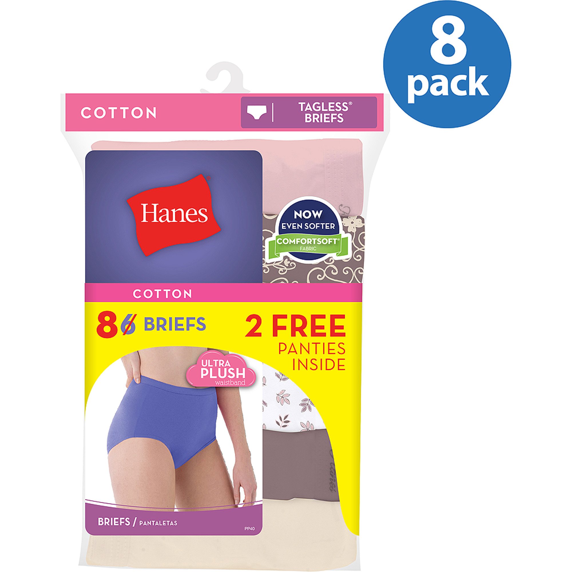 Hanes Cotton Brief Panties, 6+2 Bonus Pack