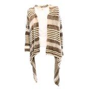 Olivia Sky NEW Women's Size Medium M Brown Jacquard Striped Draped Cardigan
