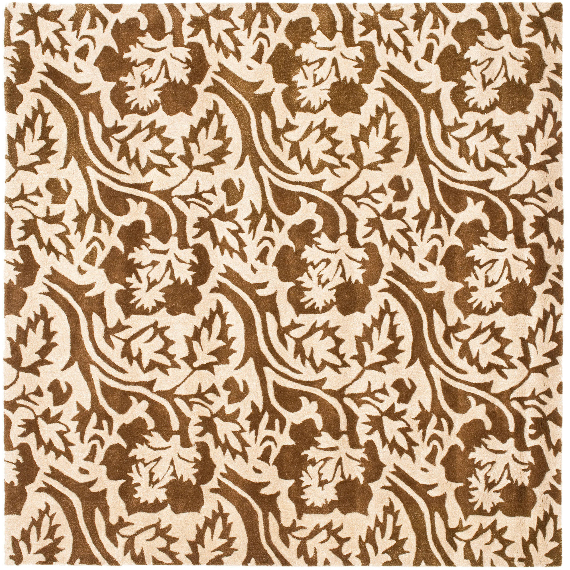 Safavieh Soho Autumn Wool Square Rug, Brown/Ivory, 6'
