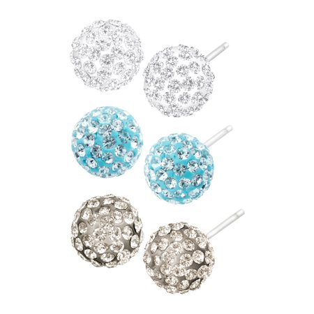 Set of 3 Ball Stud Earrings with Swarovski Crystals in Sterling Silver (Real Stud Ball Earrings Swarovski)