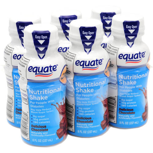 Equate Delicious Diabetic Chocolate Nutritional Shake, 8 fl oz, 6 count