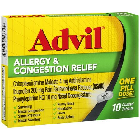 Image of Advil Allergy & Congestion Relief (10 Count) Pain Reliever / Fever Reducer Coated Tablet, 200mg Ibuprofen, Sneezing, Nasal Decongestant, Sinus Pressure