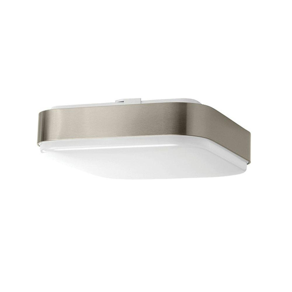 Hampton Bay 11 in. Brushed Nickel LED Ceiling Square Flushmount by