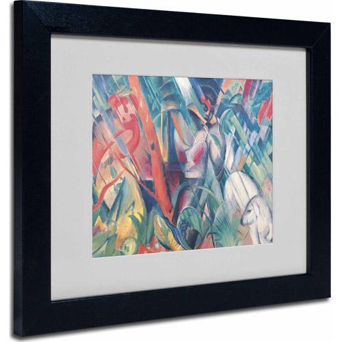 "Trademark Fine Art ""In the Rain, 1912"" Matted Framed Art by Franz Marc, Black Frame"