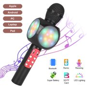 Wireless Microphone, EEEkit Wireless Bluetooth Microphone with LED Lights, Portable Handheld Kids Singing Karaoke Microphone, Mic Speaker Machine for Phone/Android/PC/Outdoor/Birthday/Home/Party-Black