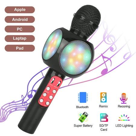 Wireless Bluetooth Karaoke Microphone with LED Lights, EEEkit Aluminum Alloy Portable Handheld Karaoke Machine Mic Hi-Fi Microphone Speaker System for Kids Adults, Black/Red