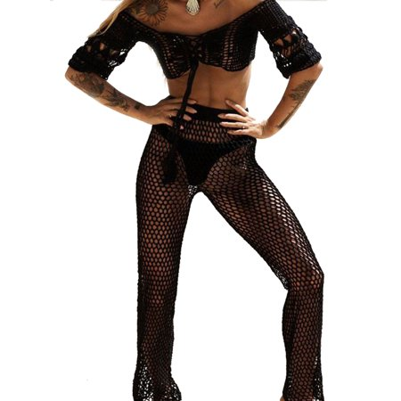 Women Hollow Out Beach Cover Up Summer Swimwear Fishnet Long Sleeve Crop Tops Pants Sets 2 Pieces Outfits Beachwear - Wild West Outfits For Ladies