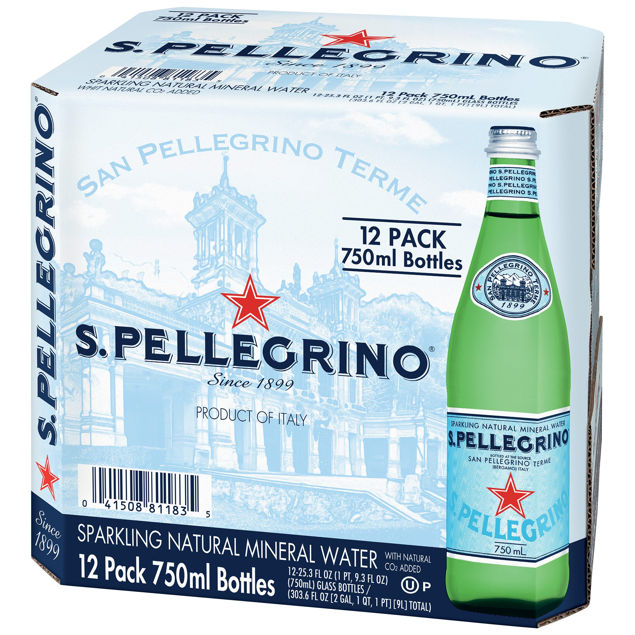SANPELLEGRINO Sparkling Natural Mineral Water, 25.3-ounce glass bottles (Pack of 12)