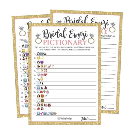 25 Emoji Pictionary Bridal Shower Games Ideas, Wedding Shower, Bachelorette or Engagement Party For Men and Women Couples, Cute Funny Board Kit Bundle Set, Coed Adult Game Cards For Bride - Halloween Ideas Games