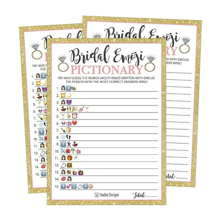 25 Emoji Pictionary Bridal Shower Games Ideas, Wedding Shower, Bachelorette or Engagement Party For Men and Women Couples, Cute Funny Board Kit Bundle Set, Coed Adult Game Cards For Bride to be (Best Card Games For Couples)