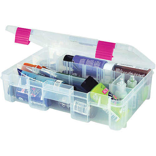 """Creative Options Pro Latch Deep Utility Box, 11"""" x 7.25"""" x 2.75"""", 4-9 Fixed Compartments, Clear/Magenta"""