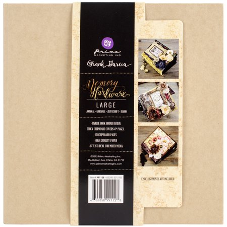 Large Square Album - Prima Marketing Frank Garcia Memory Hardware Chip Album, Kraft Large with 6 Pages, 8.5
