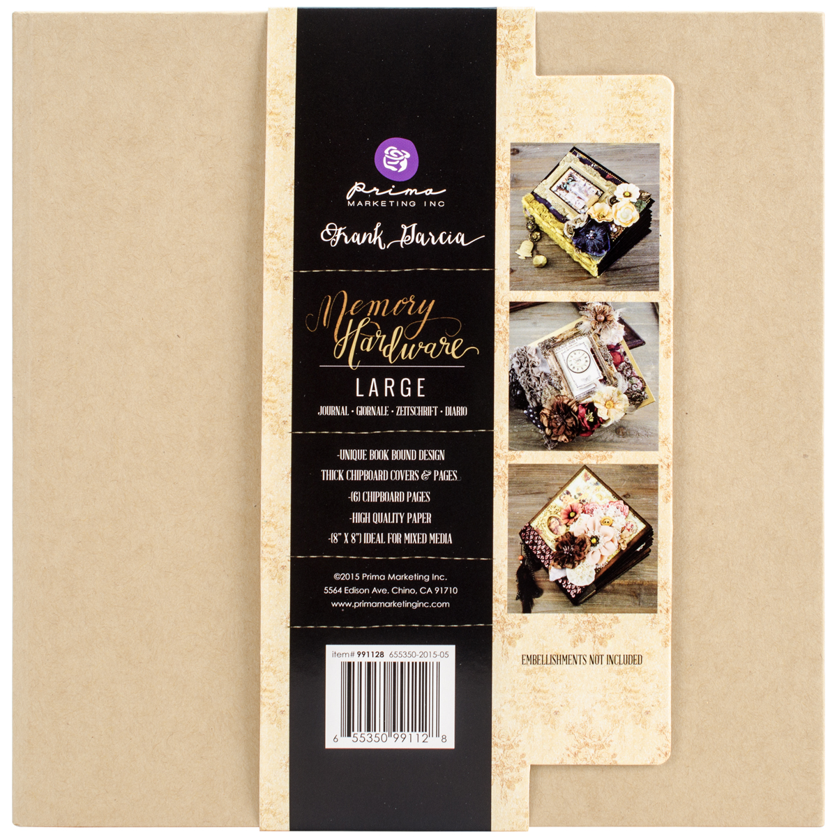 "Prima Marketing Frank Garcia Memory Hardware Chip Album, Kraft Large with 6 Pages, 8.5"" x 8.5"""