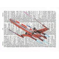 Art N Wordz Star Wars X-Wing Aircraft Dictionary Sheet Pop Art Wall or Desk Art Print Poster