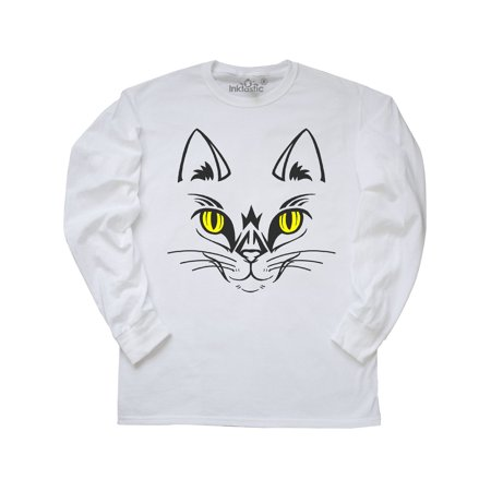 Halloween Cat Face Long Sleeve T-Shirt - Simple Halloween Cat Faces